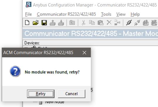 anybus communication managar no module found